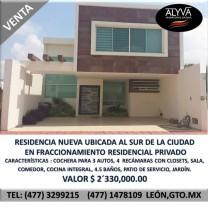 Residencia nueva en Fracc. Residencial lado sur en León de los Aldama, Guanajuato