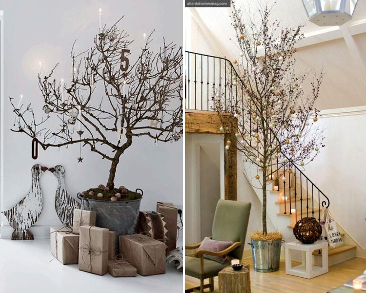 Ideas para decorar con ramas en navidad hab tala - Como decorar un arbol seco ...